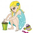 Illustrated cute summer girl — Stock Photo