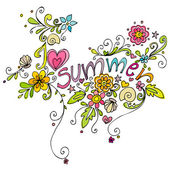 Cute doodle summer background illustration — Stock Photo