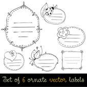 Set of cute doodle labels — Stock Photo