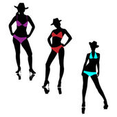 Girls of bikini in a hat.Vector — Stock Vector