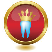 Tooth In Golden Crown,Button.Vector — Stock Vector