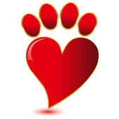 Paw print love.Vector — Stock Vector