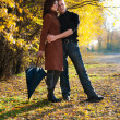 Happy couple in autumn - Stock Photo