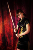 Woman with Katana — Stockfoto