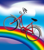 Bicycle on a rainbow — Stock Vector