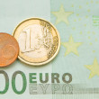 Royalty-Free Stock Photo: One euro, one cent on one hundred euro bill