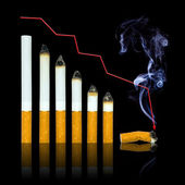 With each cigarette graph of your life steeper to end — Stock Photo