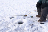 Winter fishing closeup — Stock Photo