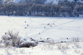 Cold winter. Frozen river. Peoples on ice. — Stock Photo