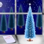 Christmas tree on windowsill — Stock Photo
