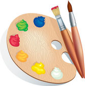 Brushes and palette — Stock Vector