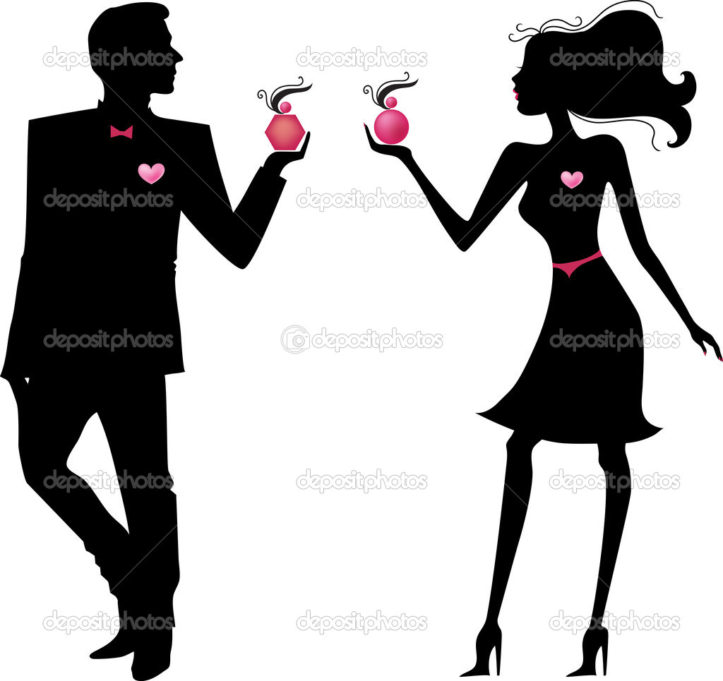 Silhouette of man and woman with parfums — Stock Vector #5016059