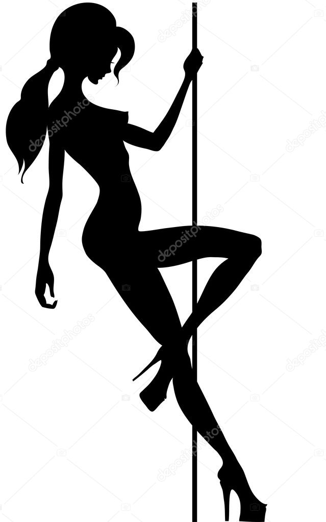 Beautiful silhouette of young women dancing a striptease — Stock Vector #5268969
