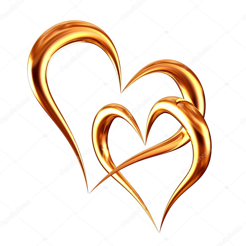 Vector illustration golden hearts  Stock Photo #5335963