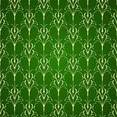 Fondo verde ornamento floral — Vector de stock