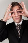 Empresário tentando ficar acordada — Foto Stock
