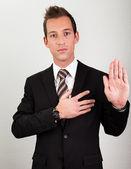 Giuramento tenuto uomo d'affari — Foto Stock