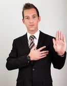 Serment prenant homme d'affaires — Photo