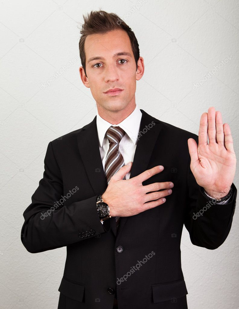 Success Man With Arm On Chest Taking Oath — Stock Photo #4624921