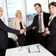 Business handshake over the deal — Stok fotoğraf
