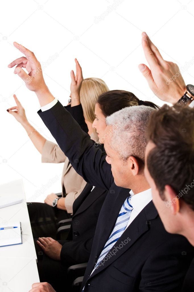 Business lecture with hands raised in the air  Stock Photo #4748385