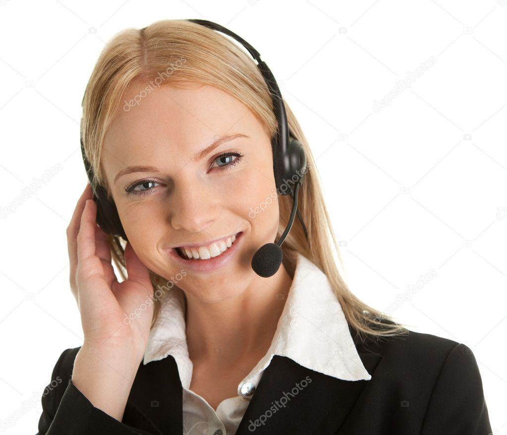 Cheerfull call center operator — Stock Photo © AndreyPopov #4845167