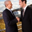 Foto Stock: Business handshake over the deal