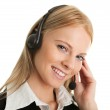 Cheerfull call center operator — Stock Photo #4875912