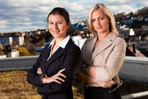 Two confident businesswomen ouside — Stock Photo