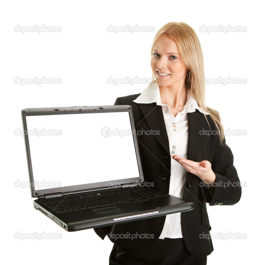 Business woman presenting laptopn. Isolated on white  Stock Photo #4876746