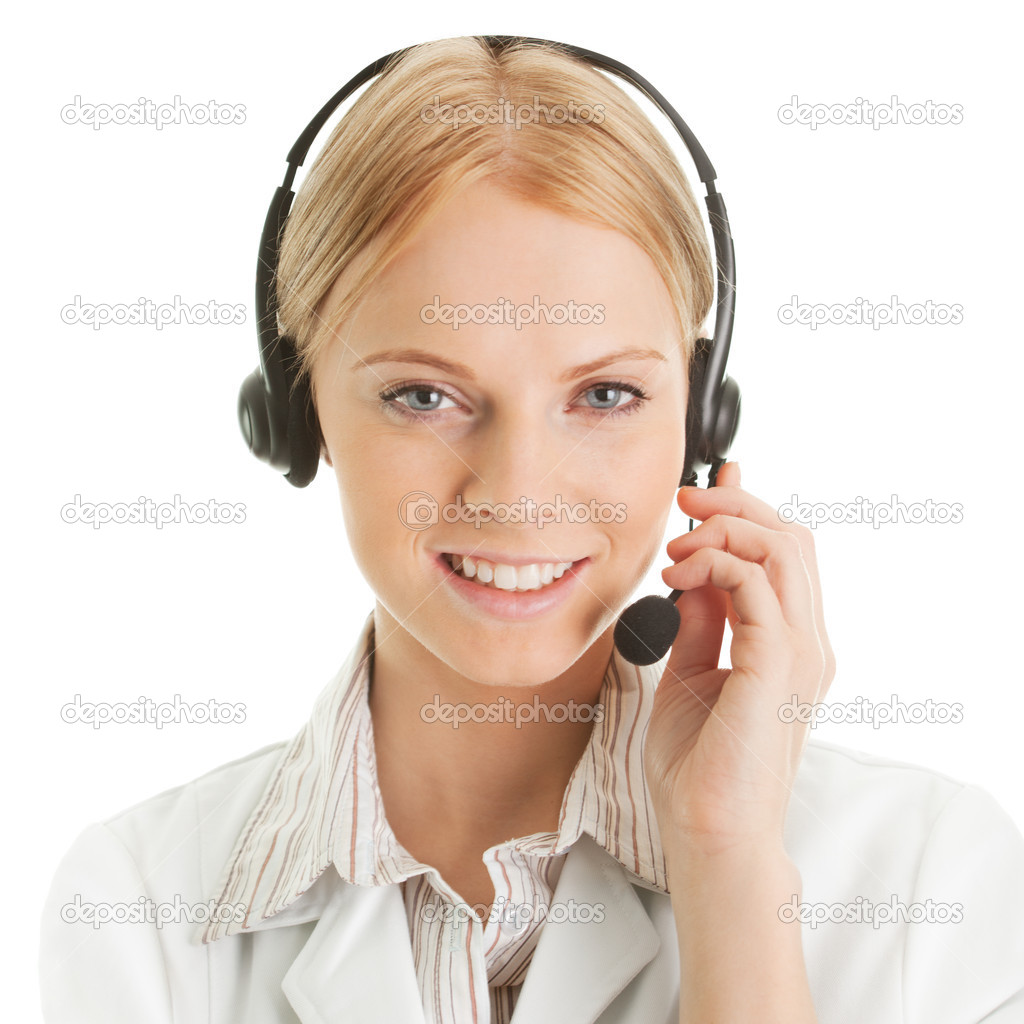 Cheerfull call center operator. Isolated on white — Stock Photo #4900471