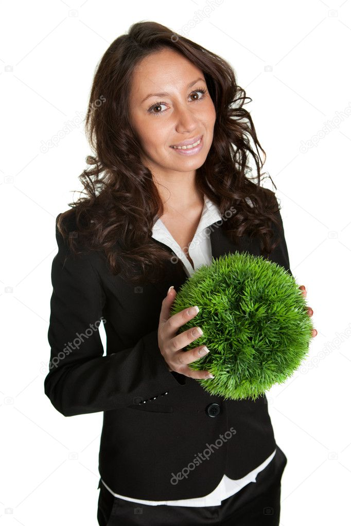 Businesswoman holding green sphere - symbol of green planet. Isolated on white — Stock Photo #5028200