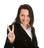 Excited businesswoman celebrating success — Stock Photo
