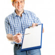Technician offering to sign papers — Stock Photo