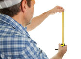 Confident worker measuring dimensions — Stock Photo