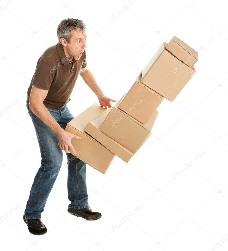 Delivery man with falling stack of boxes. Isolated on white — Stock Photo #5179617