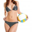 Beautilful volleyball player woman in swimwear — Stock Photo #5281444