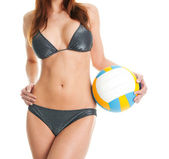 Beautilful volleybal speler vrouw in badmode — Stockfoto