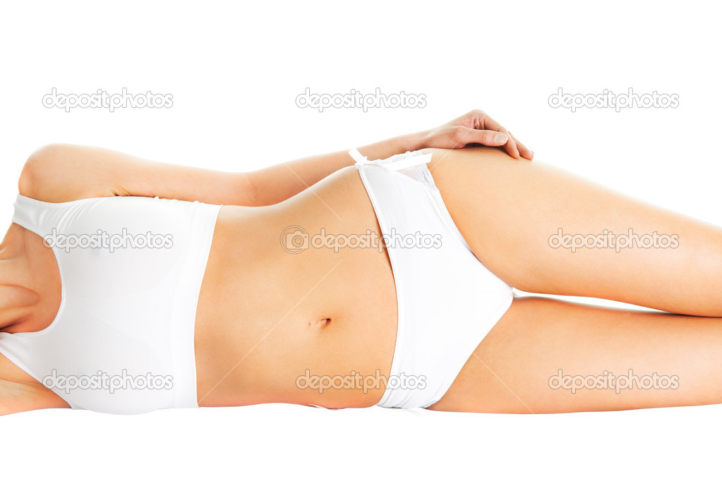 Beautiful woman body in white cotton underwear. Isolated on white — Stock Photo #5281286