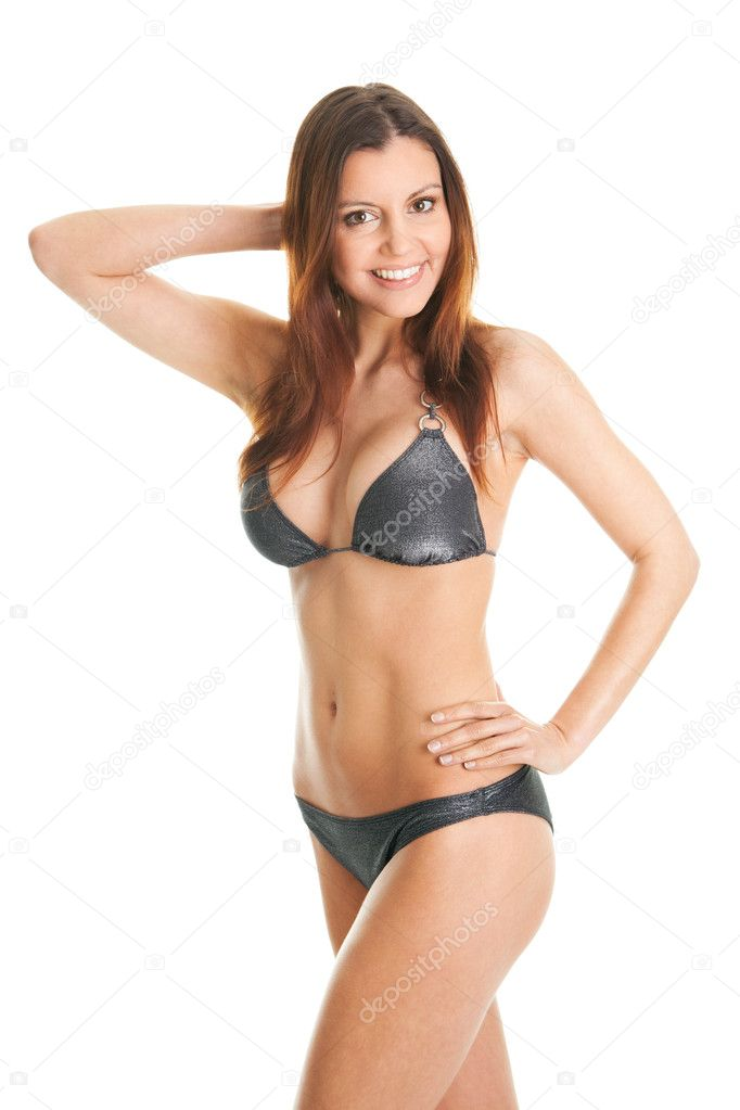 Beautilful smiling woman in swimwear. Isolated on white — Stock Photo #5281423