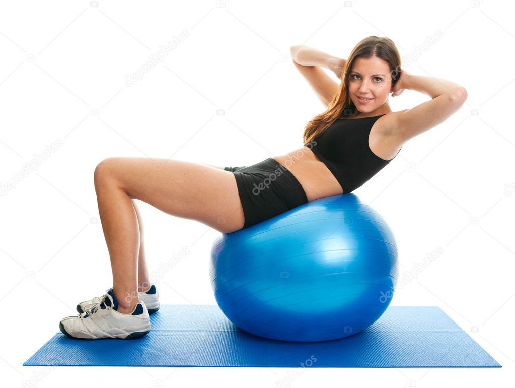 Fitness woman doing crunches on gym mat — Stock Photo ...