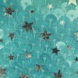 Silver fish scale and stars fabric texture - Stock Photo