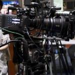 cerca de la cámara de vídeo profesional — Foto de Stock