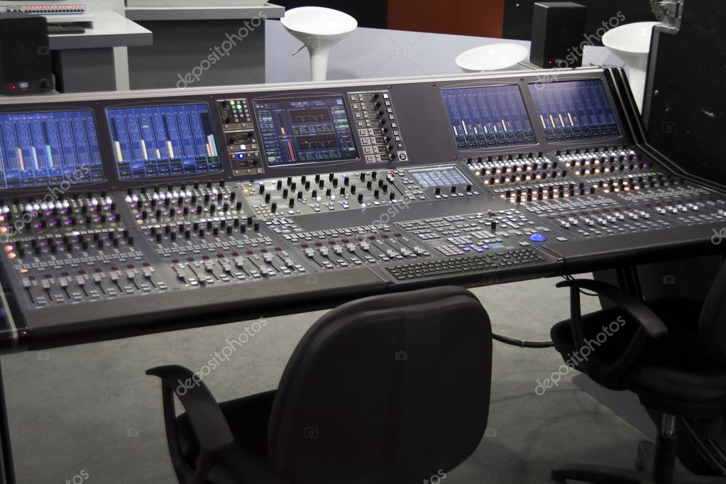 Professional audio mixer desk at the studio  — Stock Photo #4484395
