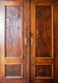 Wooden closet doors — Stock Photo
