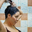 Woman dyeing hairs — Stock Photo