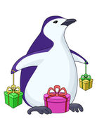 Penguin with gift boxes — Stock Vector