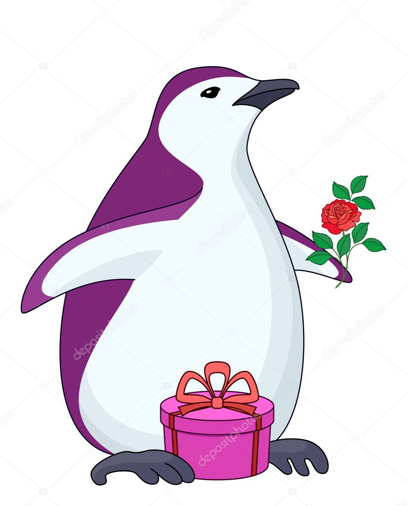Antarctic penguin with gift box and rose flower  Stock Vector #4003271