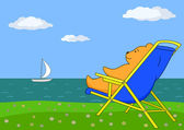 Bear in a chaise lounge on sea coast — Stock Vector