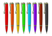 Set of multicoloured pens — Stock Vector